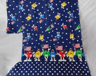 vintage M & M candy fabric material 4th of July red white blue