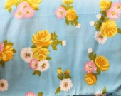 Vintage 1960s Cotton Fabric:  Blue, Pink, Green, and Yellow Rose and Daisy Floral Fabric 1+ yard