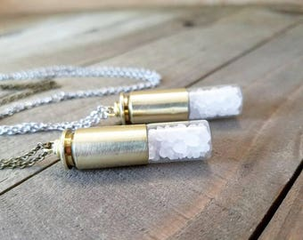 Supernatural salt bullet - supernatural necklace - supernatural jewelry - bullet vial - supernatural salt necklace - supernatural gifts