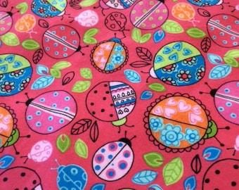 Lots of Lovely Ladybugs, baby girl flannel blanket