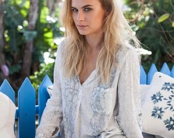 Women V-neck long sleeve Blouse - Rayon Voile Blouse - White Grey Snake - Elegant Loose Blouse - Snake Print Top - Soft Rayon Voile Blouse -