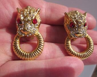 Vintage gorgeous LION head door knocker bright gold t. clip-on earrings W. RHINESTONES!