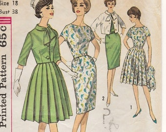 "A Full Pleated or Slim Skirt, Short Sleeve Dress and Tie Collar Jacket Sewing Pattern for Women: Retro Size 18, Bust 38"" • Simplicity 4340"