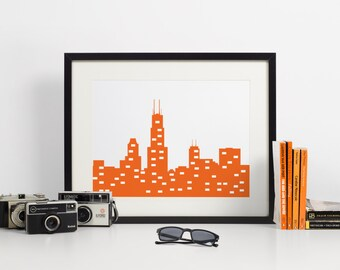 Chicago Skyline Art Print - Orange - Art Print - 8x10 instant download
