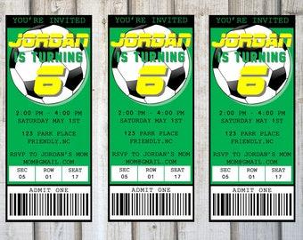 SOCCER BIRTHDAY INVITATION, Printable, Customized, Ticket, Sports, Soccer, Green, Boys Birthday Party Inivte, Digital