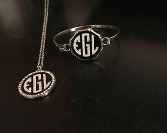 Monogrammed necklace and bracelet set