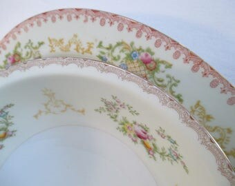 Vintage Mismatched China Serving Dishes, Oval Serving Platter, Round Vegetable Serving Bowl - Set of 2