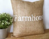 Farmhouse Burlap Pillow Cover| Burlap pillows| Burlap pillow cover| Burlap decor| Farmhouse pillows| Farmhouse decor| Rustic pillow|