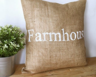 Farmhouse Burlap Pillow Cover| Burlap pillows| Burlap pillow cover| Burlap decor| Farmhouse pillows| Farmhouse decor| Rustic pillow|
