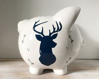 Personalized Hand Painted Piggy Bank With Deer Theme, Hunting Piggy Bank