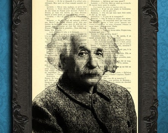 Albert Einstein art print wall decor on dictionary page, upcycled Einstein portrait for office or living room,  E = mc2