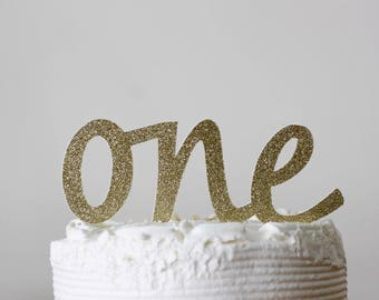 first birthday cake topper - cake topper - ONE cake topper - glitter gold cake topper - first birthday decorations