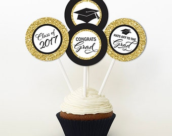 Graduation Cupcake Toppers, PRINTABLE, Gold Glitter and Black, 2 or 2.25 Inch, Graduation Favor Tags, 2017