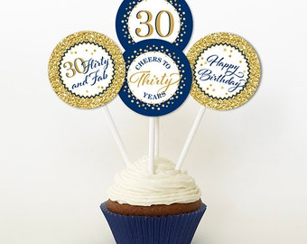 30th Birthday Cupcake Toppers, Gold Glitter and Navy Blue, Favor Tags, PRINTABLE, 2 Inch