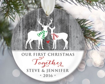 Our First Christmas Together Ornament Personalized Christmas Ornament Couple's Ornament Faux gray wood Buck and Doe Deer Ornament OR097