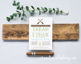 Casual Lake Wedding Invitation Template, Cottage Wedding Invitation Digital Download, Canoe Wedding Printable Invitation