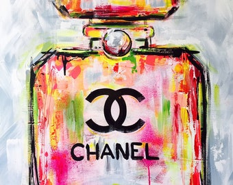 A La Warhol , Original Painting on Canvas,  Fashion Illustration by Lana Moes, Chanel Inspired Large Wall Art, Ready to Hang