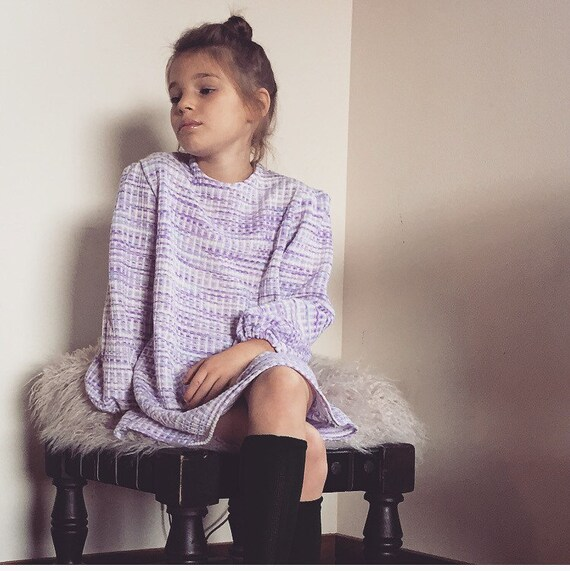 Girls Sweater Dress/70's Style/Striped Seeater