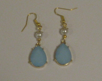 Blue & Golden Earrings