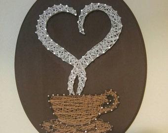 """Coffee and Tea Steam Love Heart Mug String Art 11x14"""""""