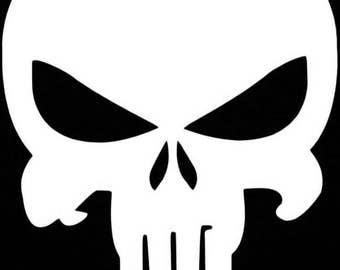 """White Evil Punisher Skull Logo Window Decal 2.25"""" x 4"""""""