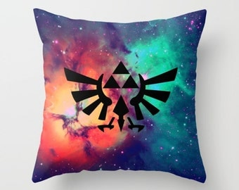 Zelda Pillow Cover, Hylian Royal Crest of Stars Pillow Cover, Legend of Zelda Pillow Cover, Triforce Pillow Cover, Zelda Cushion Cover