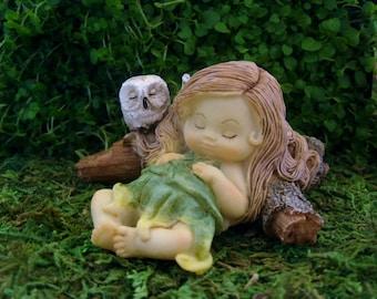 Little Sleeping Fairy - Owl - Fairy Garden - Terrarium - Miniature Gardening - Accessories