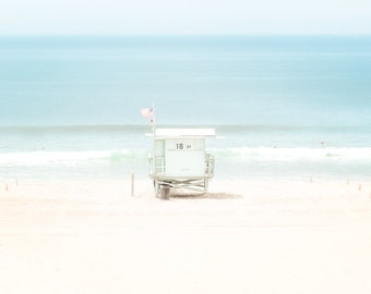 California Beach Photography, Lifeguard Tower Dreamy Serenity Blue, Manhattan Beach California Seascape Ocean Surf Aqua Teal Coastal Pretty