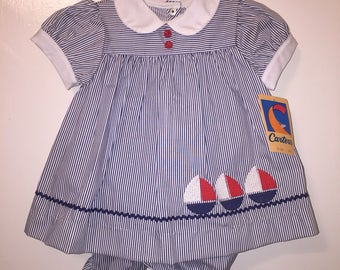 VTG Carter's Baby Girl Summer Dress Striped Sail Boats Sz 12M New Old Stock
