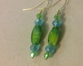 Artisan Handmade Gold Plated Green Lampwork Blown Glass Blue Crystal Dangle Style Earrings Jewelry Gift Fashion Accessory Unique Elegant