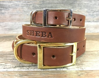 Personalized Brown Leather Dog Collar with FREE Name, Pick Your Font