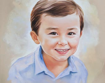 Small size Pastel portrait, original child portrait