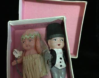 Antique Rare Authentic 1920s Flapper Bride & Groom Cake Topper   (PT1)