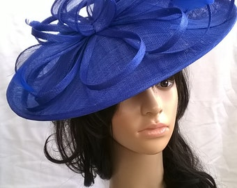 Royal Blue hatinator..Stunning Sinamay Hat on a Headband..Hatinator