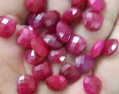 25 Pieces,Superb-Finest Quality,Ruby Faceted Heart Shape Briolettes,12mm size