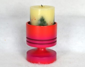 Wood Ombré Candle Holder, Bright Red to Magenta, 3-way Candle Holder, Scandinavian Style, Bright Red/Pink Candle Stick, Taper Votive Pillar