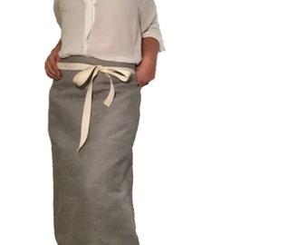 GREY LINEN APRON - Waist Apron, natural linen apron, Minimalistic Apron, long linen Apron, Tablier, Rustic Apron, Delantar