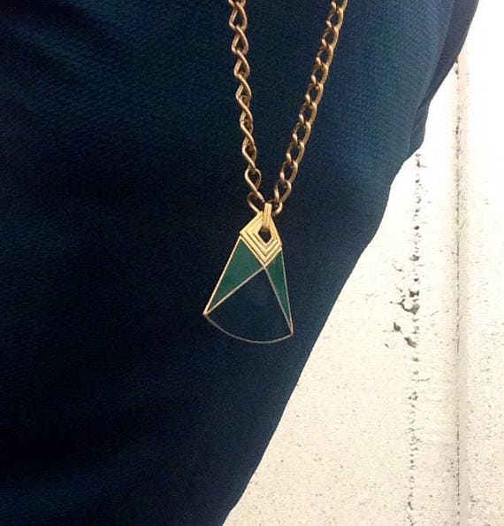 Vintage Trifari Geometric Enamel Pendent Necklace.