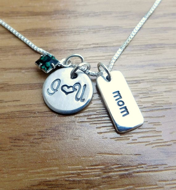 Sterling silver mothers necklace necklace, love jewelry, memorial jewelry, personalized hand stamped jewelry, I love U Mom