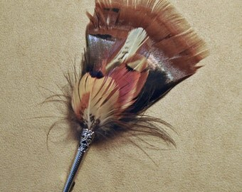 F018 Feather pin, hat pin, FREE US SHIPPING