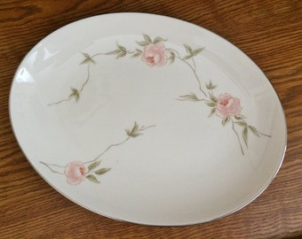 FRANCISCAN MELROSE PLATTER - Gladding McBean & Co. Japan - Pink Roses Platinum Trim 1961