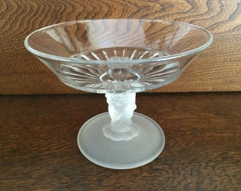 THREE FACE COMPOTE Dish - Frosted Three Face Pedestal Compote Candy Dish - Flourescent