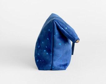 Blue Evening Bag - Metallic Confetti Dots Clutch Purse - Vegan Suede Foldover Clutch Bag - Blue Wedding Clutch - Faux Suede Evening Purse