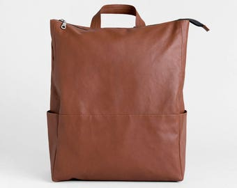 Brown Vegan Leather Backpack, Minimal faux leather bag, Vegan travel rucksack, Classic Laptop backpack, Tan sac vegan,Unisex Graduation Gift