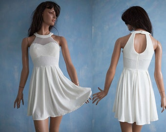 90s woman vintage   white  bustier flare skirt prom graduation clubwear extra mini dress/sleeveless coctail mini dress/S