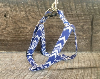 Navy Chevron step in harness