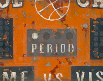 Vintage Orange Basketball Scoreboard Sports Art Canvas- by Aaron Christensen.  Perfect for basketball players, fans and future all-stars