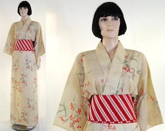 Vintage Kimono with Sash & Obi Bow - Women's Long Floral Kimono - Tsukesage Style Kimono - Size 10 - Robe - Linen - 1970s