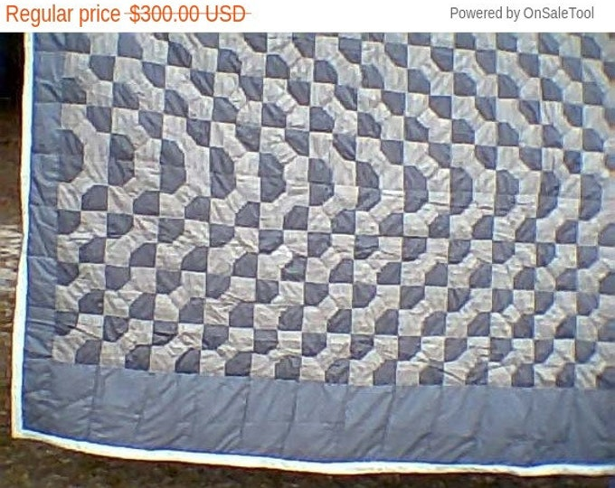 Sale: Gray and Charcoal Gray Bow Tie Queen Size Quilt or Bed Quilt