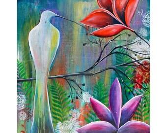 HUMMINGBIRD GARDEN -boho, gypsy, feathers, bird, hummingbird print
